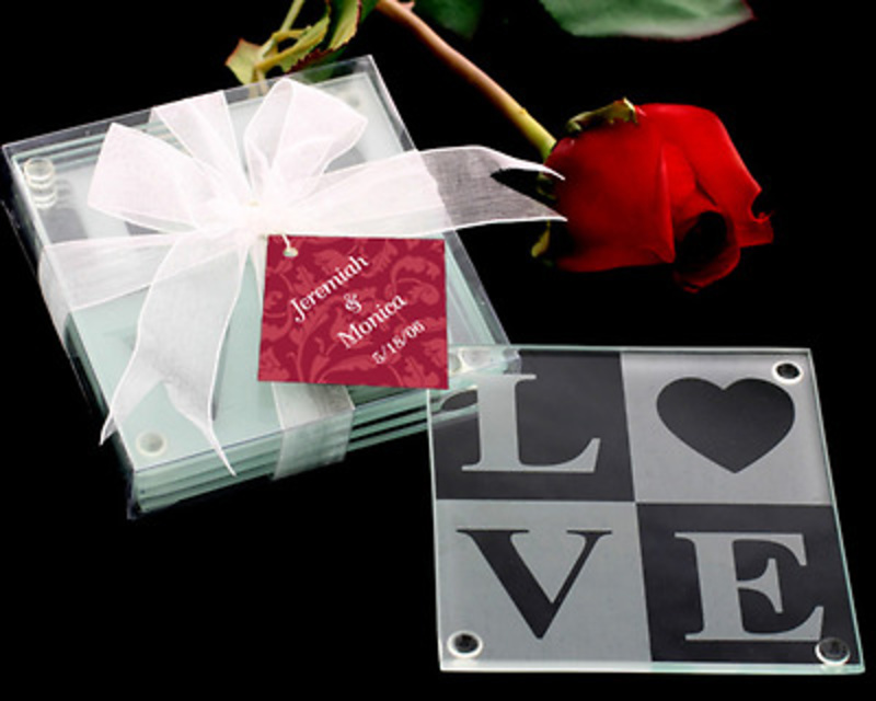 Detalles de boda set de dos posavasos love Ref.1032 ETIQUETAS GRATIS