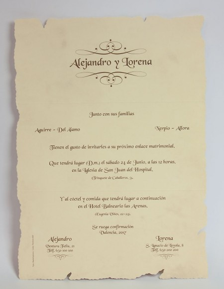 Invitación de boda Ref.100049 - Impresión GRATIS