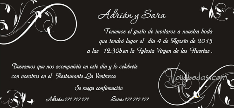 Invitación de boda Ref.22705 Impresión GRATIS