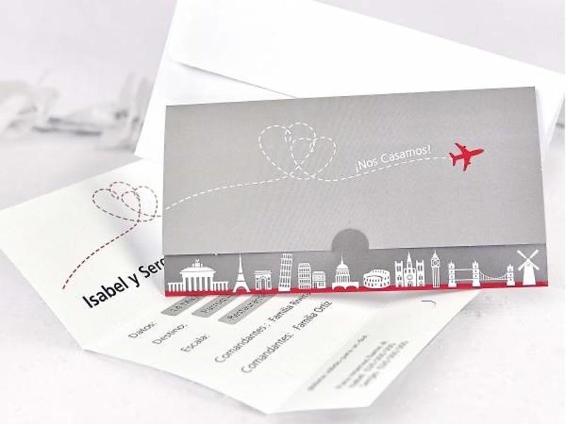 Invitación de boda avión ref.35654.