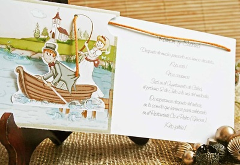 Invitación de boda cardnovel pescando Ref32405 Impresión GRATIS