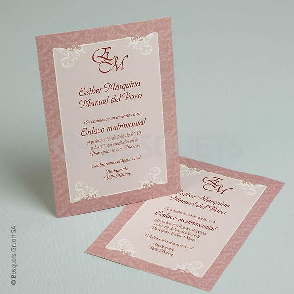 Invitación de boda 18946. Impresión GRATIS.