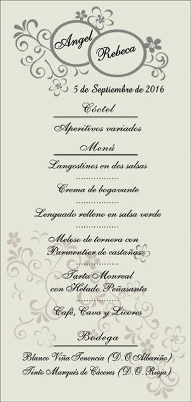 Minutas boda Romántico