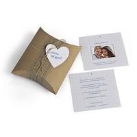 Invitación boda caja kraft. Impresión incluida