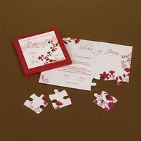 Invitación de boda puzzle en cartulina roja Ref.3335113233