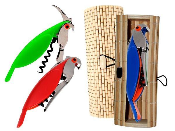 Abrebotellas loro y caja madera