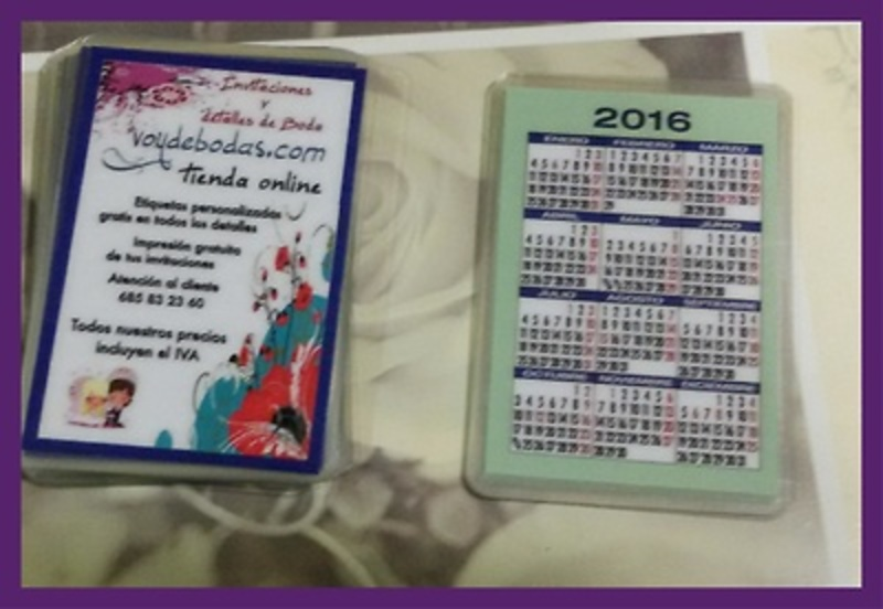 Calendario de bolsillo plastificado 2016.