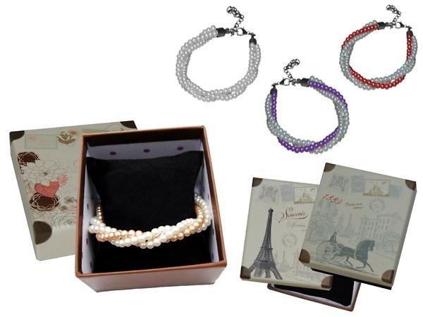 Detalle de boda pulsera perlas triple caja Ref.901 Etiquetas GRATIS.