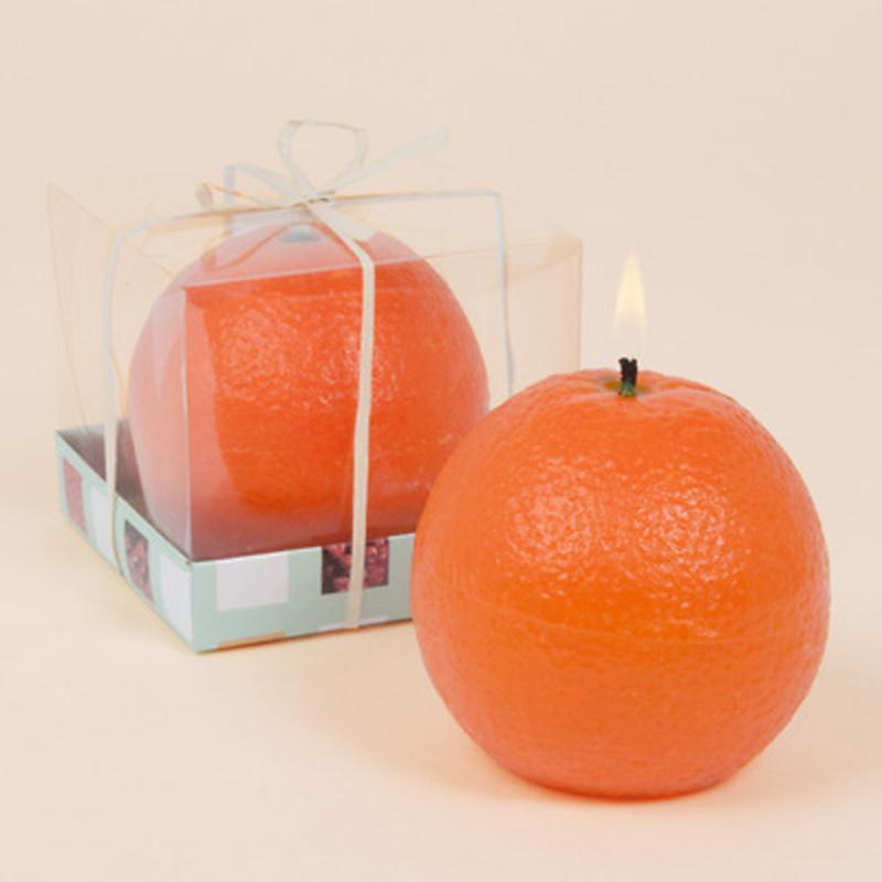 Detalle de boda vela naranja Ref.1302 ETIQUETAS GRATIS