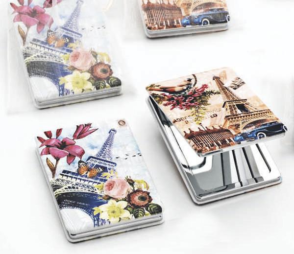 Espejo doble torre Eiffel y flores