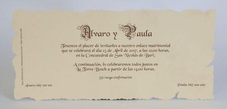 Invitación de boda Ref.100215 IMPRESION GRATIS