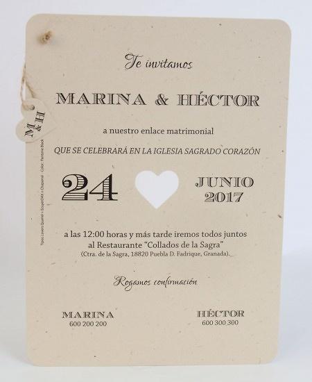Invitación de boda Ref.100720 - IMPRESION GRATIS