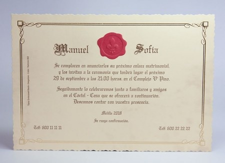 Invitación de boda Ref.100733 IMPRESION GRATIS