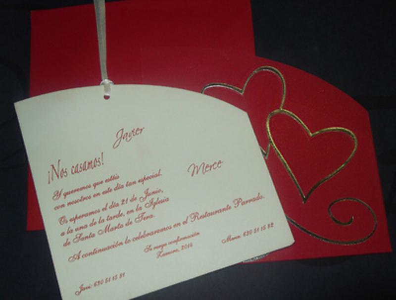 Invitación de boda Ref.40007 - Impresión GRATIS