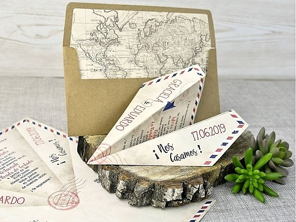 Invitación de boda avión ref.39333