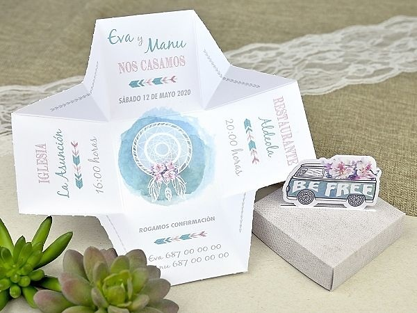 Invitación de boda caja be free 39628