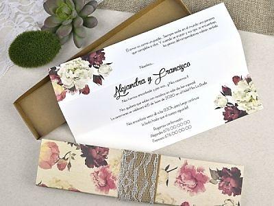 Invitación de boda caja flores