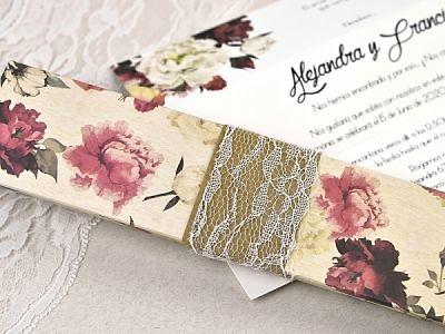 Invitación de boda caja flores 39601