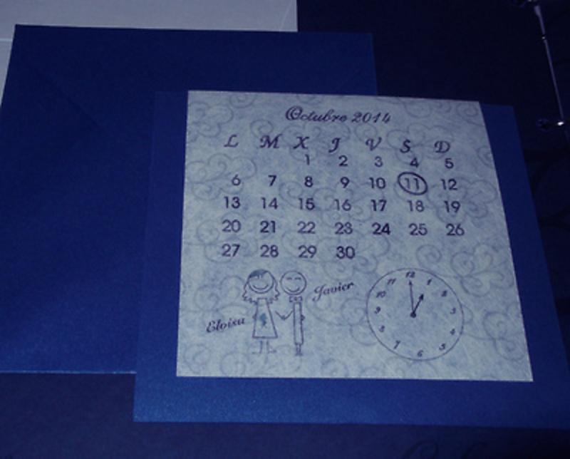 Invitación de boda calendario Ref.20008 - Impresión GRATIS.