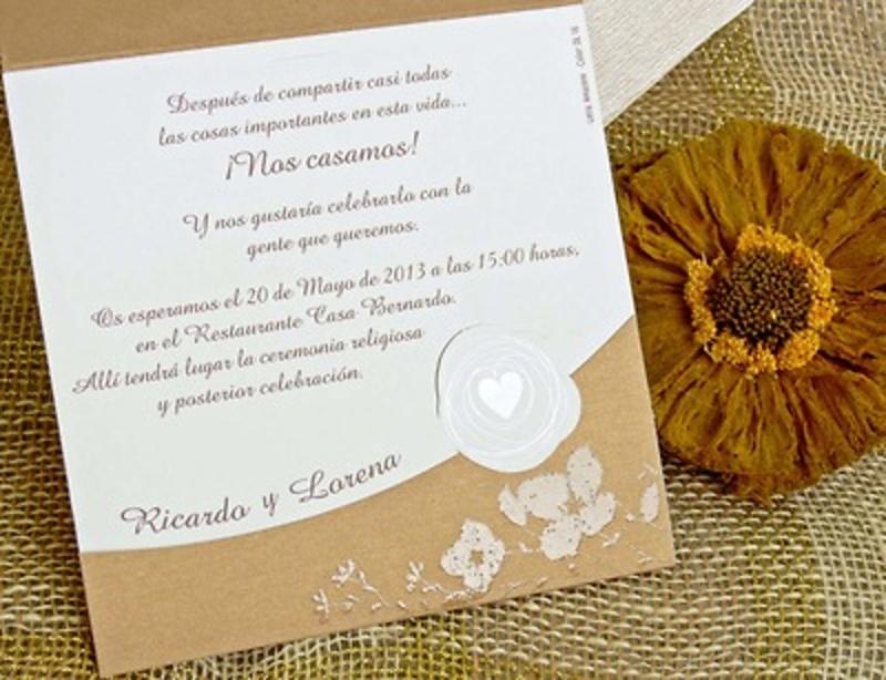 Invitación de boda cardnovel Ref.32753 Impresión GRATIS