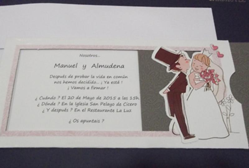Invitación de boda cardnovel Ref.34948. Impresión GRATIS