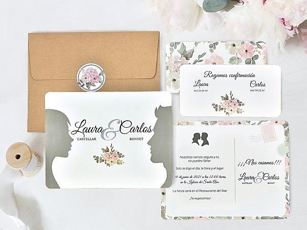 Invitación de boda faces 39741