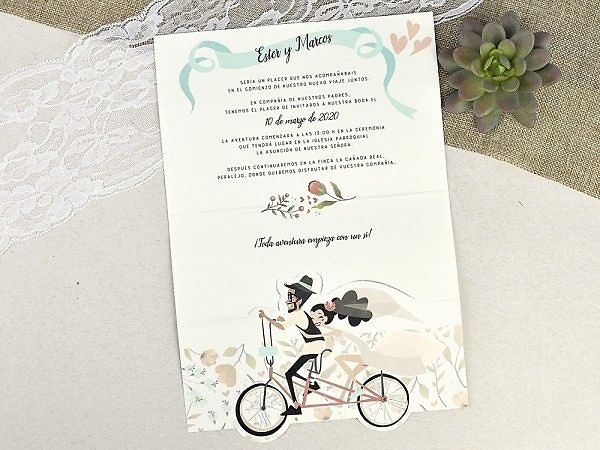 Invitación de boda fuga en bicicleta 39629