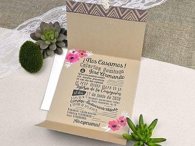Invitación de boda furgoneta con flores 39610