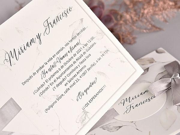 Invitación de boda hojas 39729