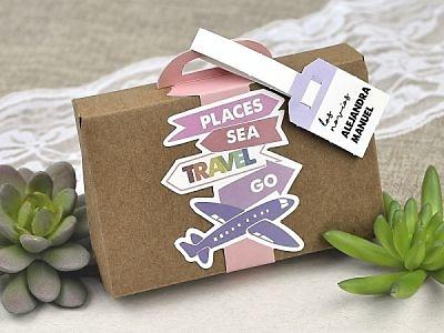 Invitación de boda maleta kraft 39618
