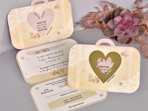Invitación de boda maleta vintage 39710