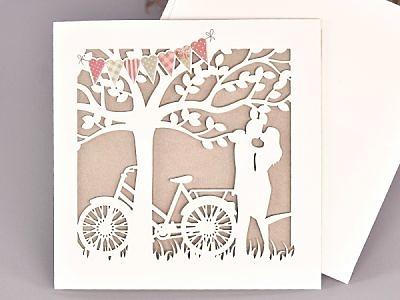 Invitación de boda novios bicicleta vintage 39733
