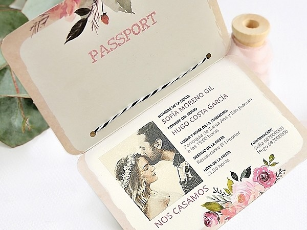 Invitación de boda passport 39701