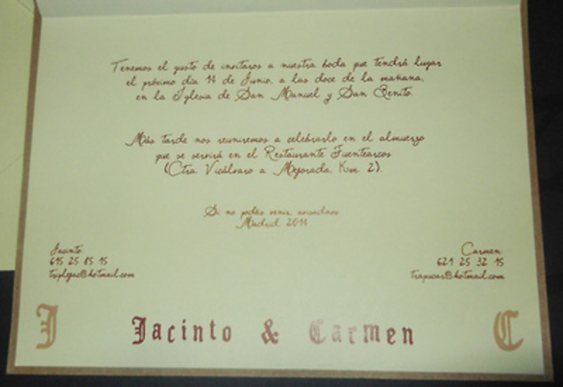 Invitación de boda pergamino Ref.40003 - Impresión GRATIS
