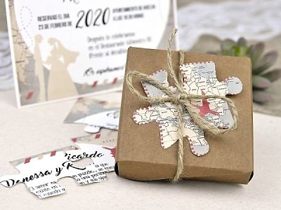 Invitación de boda puzzle del mundo 39639 Impresión GRATIS