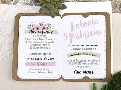 Invitación de boda romántica 39606
