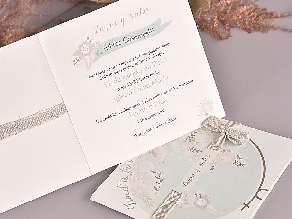 Invitación de boda travel is fun 39702