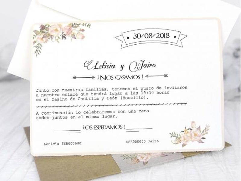 Invitación de boda vintage lazo