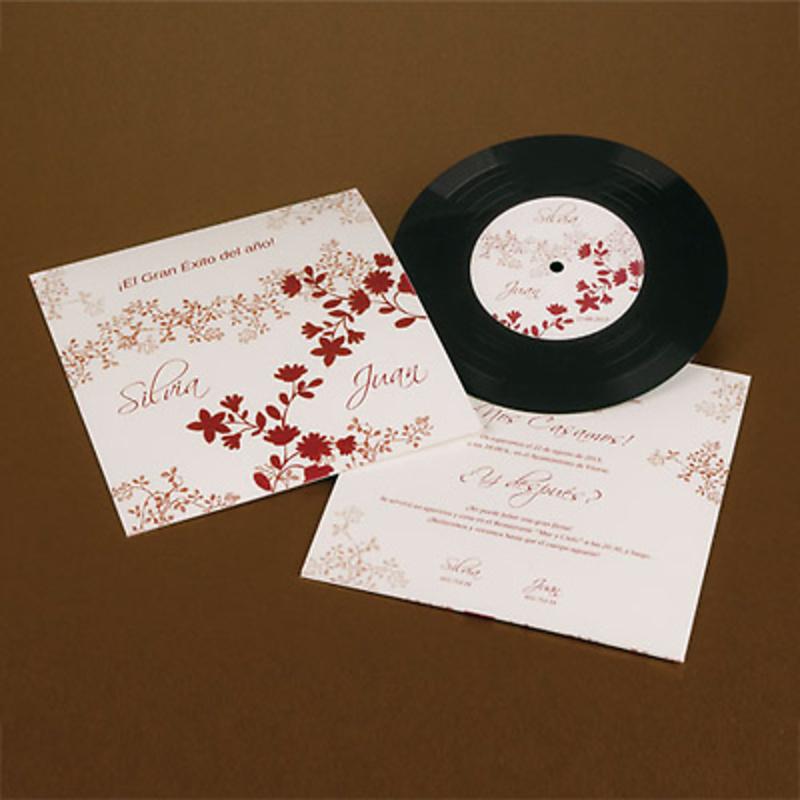 Invitación de disco en vinilo blanco y rojo - Ref.3338313233b