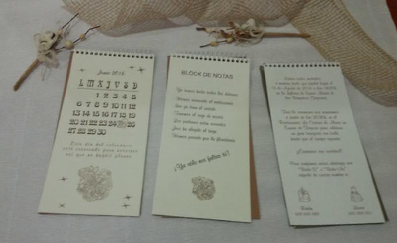 Invitaciones de boda blok de notas