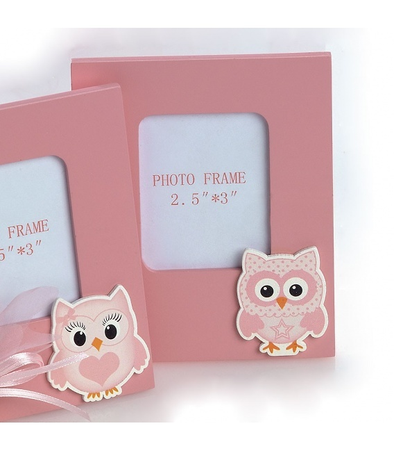 Portafotos madera rosa búho