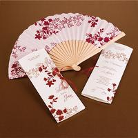 Invitación de boda abanico rojo y blanco Ref.3337413233
