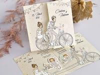 Invitación de boda familia bicicleta 39714
