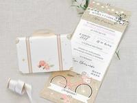 Invitación de boda maleta vintage 39719