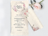 Invitación de boda pergamino flores 39712