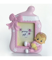 Portafotos bebé niña rosa diadema ref.1406