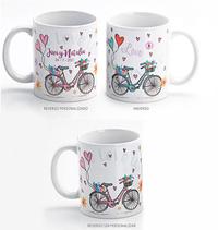 Taza desayuno bicicleta corazones